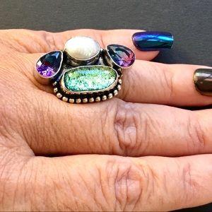 Pearl Biwa Amethyst Dichroic Glass Gemstone Ring